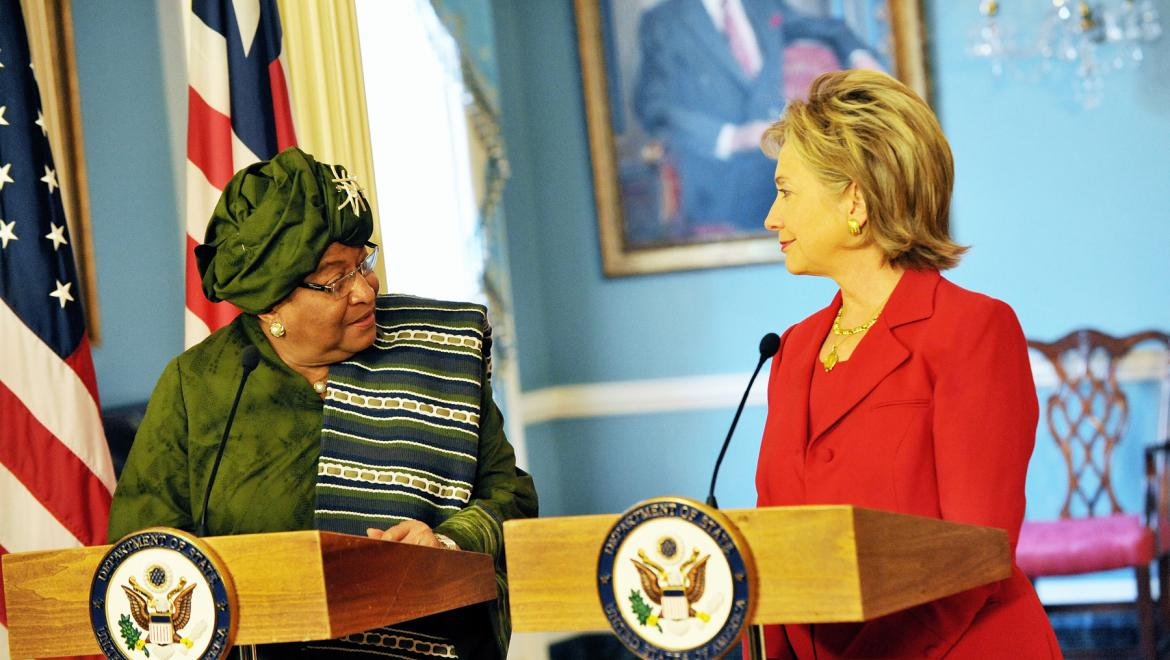 U.S. Secretary of State Hillary Rodham Clinton meets with Liberian President Ellen Johnson-Sirleaf at the U.S. Department of State in Washington, DC April 21, 2009. State Department photo