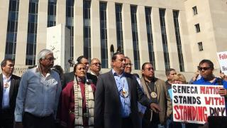Dave Archambault II, the chairman of the Standing Rock Sioux Tribe addresses supporters outside of the federal courthouse in Washington, D.C., on August 24, 2016.